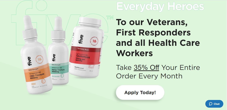 five cbd veterans program discount
